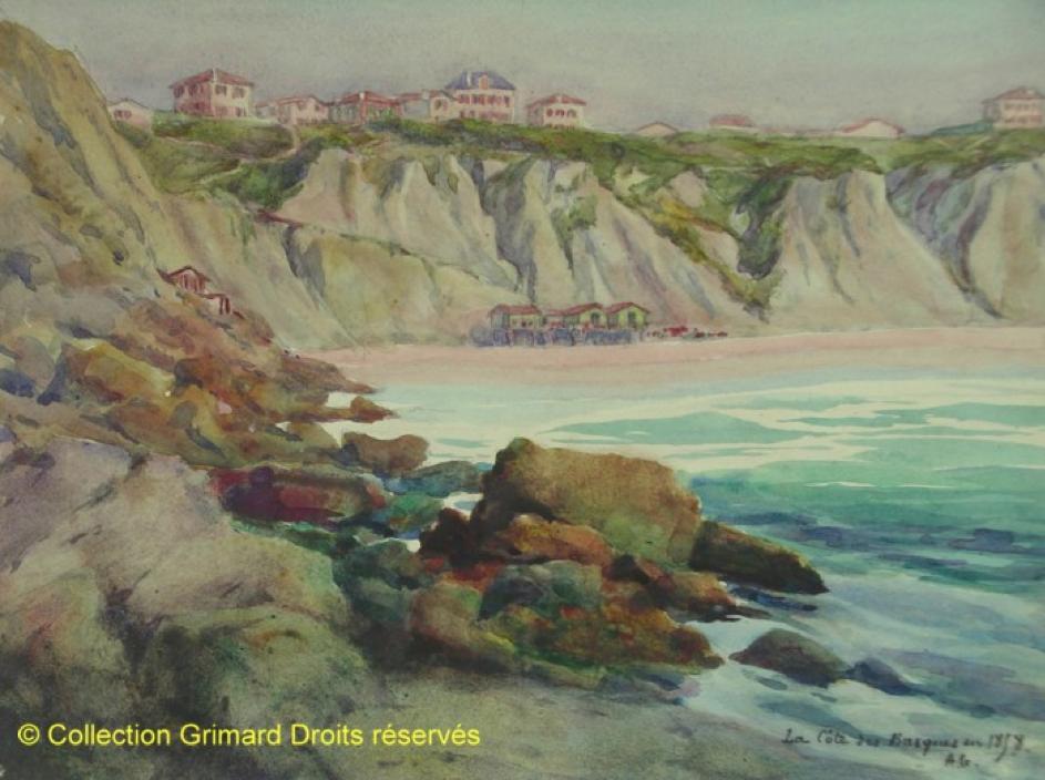 andre-grimard-aquarelle-cote-des-basques-biarritz