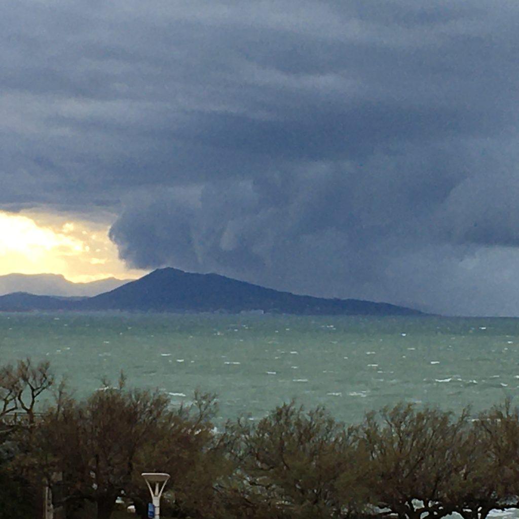 Vues sur la Côte des Basques avec l'arrivée de la tempête Fabien le samedi 21 décembre 2019